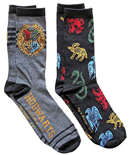 Hyp Harry Potter Hogwarts Men's Crew Socks 2 Pair Pack Shoe Size 6-12