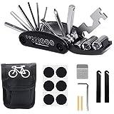 ABSOK Kit de reparación de bicicletas, 16 en 1, multifuncional, kit de herramientas de reparación de bicicletas, herramienta de bicicleta multifuncional con kit de parche y palancas de neumáticos.