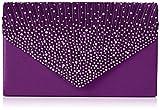 SwankySwans Abby Diamante bolsa de embrague estilo sobre, color Morado, talla Talla única