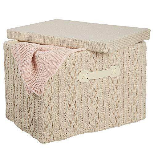 mDesign Caja organizadora mediana con tapa y asa – Organizador de armario apilable en poliéster con aspecto tricotado – Caja plegable para baño, dormitorio o habitación infantil – beis y natural