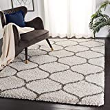 SAFAVIEH Hudson Shag Collection SGH280A Moroccan Ogee Trellis Non-Shedding Living Room Bedroom Dining Room Entryway Plush 2-inch Thick Area Rug, 9' x 12', Ivory / Grey