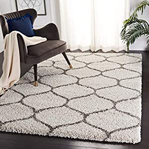 SAFAVIEH Hudson Shag Collection SGH280A Moroccan Ogee Trellis Non-Shedding Living Room Bedroom Dining Room Entryway Plush 2-inch Thick Area Rug, 8′ x 10′, Ivory / Grey