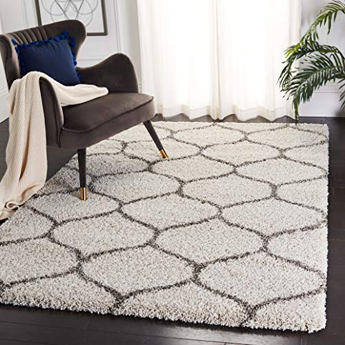 "Safavieh Hudson Shag Collection SGH280A Moroccan Ogee 2-inch Thick Area Rug, 5' 1"" x 7' 6"", Ivory/Grey"