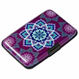 Elfish Mini RFID Aluminum Wallet Credit Cards Holder Business Card Case Metal ID Case for Men Women (Purple flower)