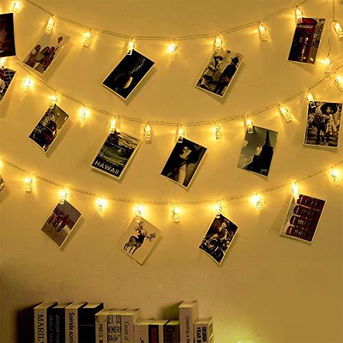 Fulighture Led Foto Lichterkette, 6M 40 LED Photoclips, Stromversorgung über USB, Foto-Clip Licht für Zimmer Lichterketten, Innen, Weihnachten, Kinderzimmer, Außen, Party, Hochzeit, Warmweiß