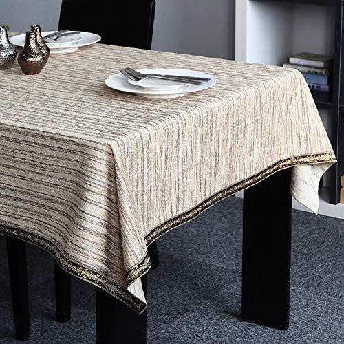YQ QY Tischdecke Klassisch Wasser Wellen Tischdecke Chenille Tischdecke Tischtuch Party Bankett Tischtuch Kaffeetischauflage Computer-Hintergrundbild QY Tischdecke (Color : Beige, Size : 140 * 220cm)