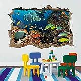 Papel pintado Pegatinas de pared para bebé Pegatinas de arte de pared rotas 3D de acuario marino de peces de coral, dormitorio infantil, guardería Papel pintado