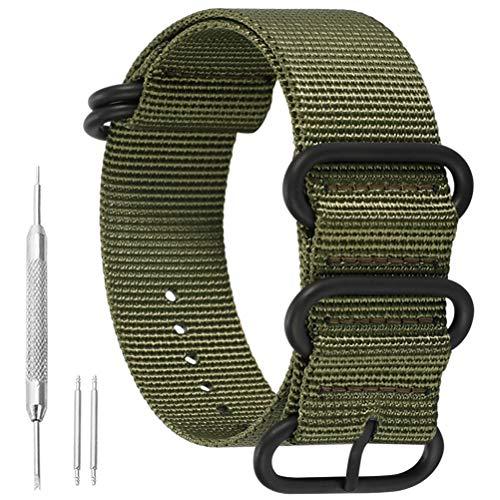 23mm ejército Verde Exquisito de una Sola Pieza Correas de Reloj de Estilo de la perlón de Nylon de los Hombres Correas Textiles