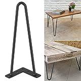 Juego de 4 patas de mesa de hierro forjado, diseño minimalista moderno, antioxidante, estable, color negro, 10 mm (12 pulgadas)