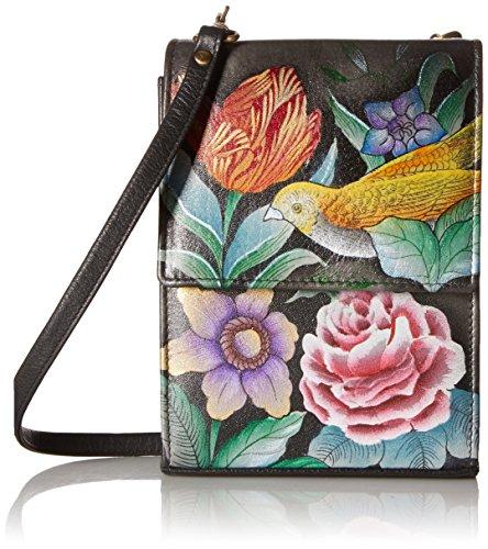 Anuschka handbemalte Ledertasche, Schultertasche für Damen, Geschenk für Frauen, Handgefertigte Tasche mit Fach - Mini Umhängetasche organiser (Vintage Bouquet 412 VBQ)