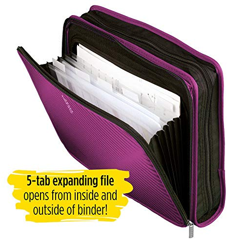 Five Star Zipper Binder, 2 Inch 3 Ring Binder, 6-Pocket Expanding File, Durable, Berry Pink/Purple (72540) Photo #8