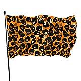 Flagge,Hanging Flag Dekor,Fahne,Garten Banner,Sexy Orange Leopard Print Pattern Polyester Flagge - Lebendige Farbe Und Uv-Lichtechtheit Für Den Außen-/Innenbereich 150X90 cm