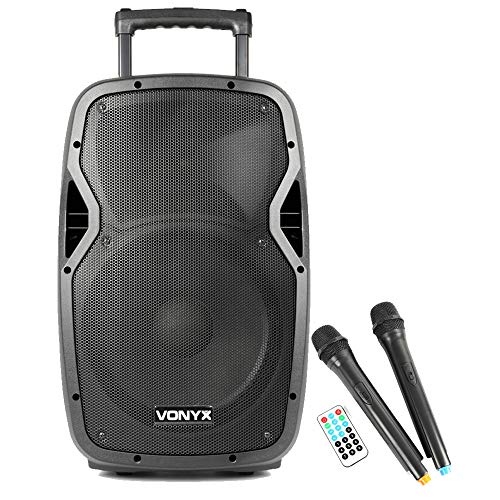 VONYX Bluetooth DJ Speaker with UHF Wireless Microphones Battery Powered Portable PA System for Mobile Busking Wedding Gym Fitness Aerobics USB SD MP3 600W