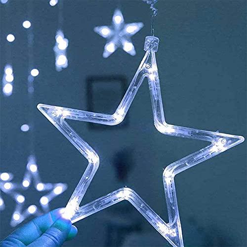 LLDE Cortina de luces LED de 138 ledes, cadena de luces de Navidad, con estrellas, cortina de hada, cadena de luces decorativa para festivales de Navidad, bodas, fiestas, decoración de jardín