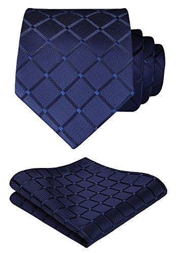 HISDERN Extra Long Check Krawatte Taschentuch Herren Krawatte & Einstecktuch Set Navy blau