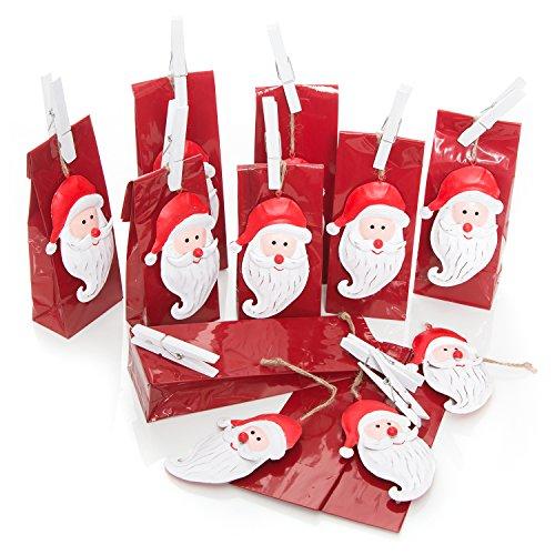 Set di 10 sacchetti natalizi di carta, 7 x 4 x 20,5 cm, con 10 etichette natalizie rosse bianche NIKOLAUS in latta da 11 cm + 10 mollette bianche grandi