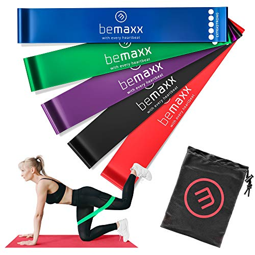 Fitnessband Set - 5x Loop Gummiband Resistance Widerstandsbänder + Trainings-eBook | Gymnastikband, Fitness Sport Workout Krafttraining Band elastisch | Trainingsband Sportband Miniband Crossfit Yoga