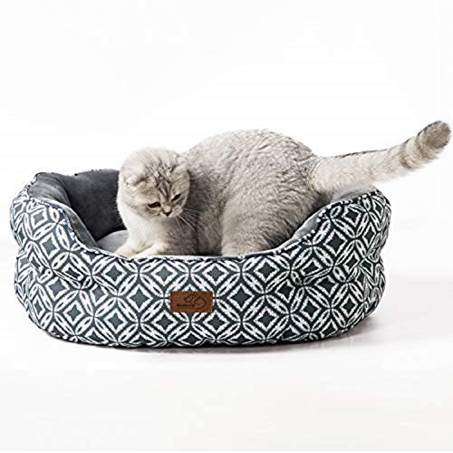 Bedsure Cama Gato Grande Estampada - Camas para Gatos Suave y Lavable, Cojin Perro Pequeño Interior y Redonda, 64x53x23 cm