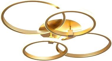 Plafonnier pour Chambre à Coucher Salon Rond Design Moderne doré LED Intensité Variable Bureau Salle à Manger Salle de Bain C