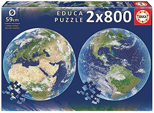 Educa Round Planeta Tierra. 2 Puzzles Redondos de 800 Piezas