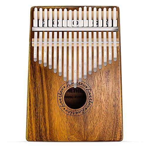 Kalimba 17 Tasti Thumb Piano Denti in Metallo con Corpo in Legno Koa con Attrezzo per Accordatura e Borsa per il Trasporto di Finether (Legno Koa)