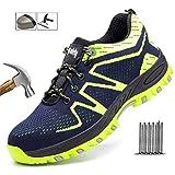 Ligero Zapatos de Seguridad Hombres Punteras de Acero Entrenadores De los Hombres Respirable Kevlar La Seguridad Entrenadores Industrial Zapatos de Trabajo,Verde,39