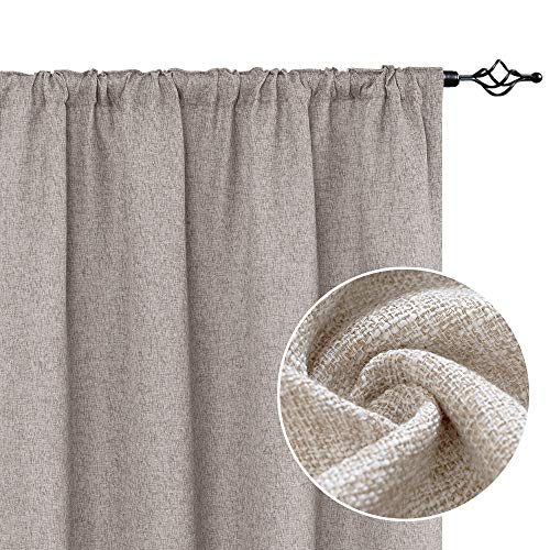 """jinchan Linen Textured Curtains Tie Up Shade for Living Room Rod Pocket Burlap Light Filtering Window Treatment Set for Bedroom Flax Drapes 2 Panels 84"""" L Beige"""