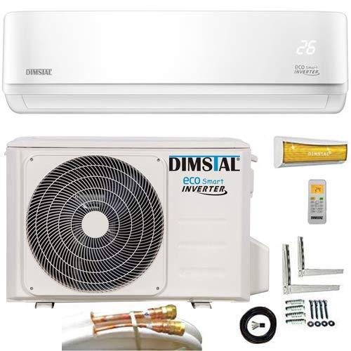 Quick-Connect INVERTER Split Klimaanlage mit Wärmepumpe 3,2 kW Klimagerät ECO Smart WiFi/WLAN-Ready komplett Set inkl. 5m Kupferleitungen mit Heizfunktion