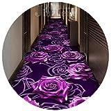 YANGJUN-Läufer Teppich Flur rutschfest Pflegeleicht Verschleißfest Waschbar Drucken Haushalt Hotel Lila Rose Schneidbar Anpassbare (Farbe : A, größe : 0.6x3m)