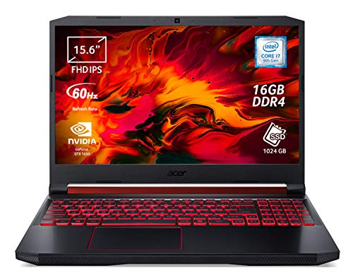 Acer Nitro 5 AN515-54-72FF Notebook Gaming, Processore Intel Core i7-9750H, RAM 16 GB DDR4, 1024GB PCIe NVMe SSD, Display 15.6  FHD IPS 60 Hz LCD, Nvidia GeForce GTX 1650 4GB GDDR5, Windows 10 Home
