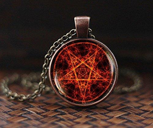 Colgante de pentagrama, collar de pentagrama, joyería oculta, collar de Wiccan para hombre