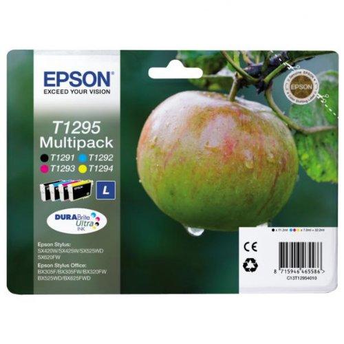 Epson C13T12954020 Confezione 4 Cartucce Blister RS, Rf Mela-L T1295, Multicolore, con Amazon Dash Replenishment Ready
