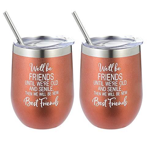 olyee We zullen vrienden zijn totdat we oud en seniele - Beste vriend wijn Tumbler,2 Packs 12 Ounce Dubbele Muur Vacuüm Geïsoleerde Wijnglas Koffie Cup met Deksel