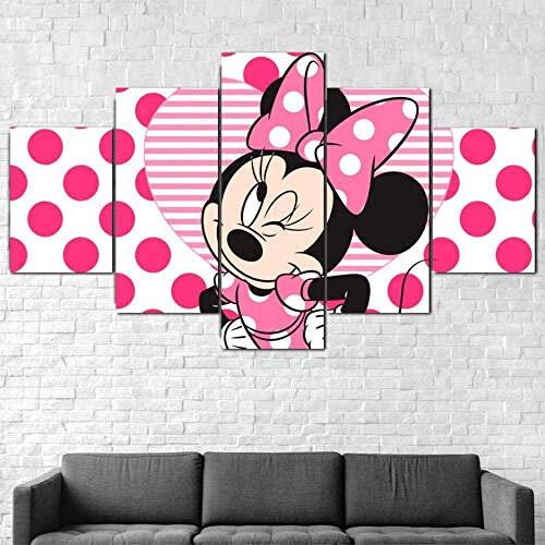wodclockyui 5 Piezas Cuadro de Lienzo- Personaje de Anime Mouse Minnie 5 Impresiones de imágenes Decoración de Pared para el hogar Pinturas y Carteles de Arte HD 200cmx100cm sin Marco