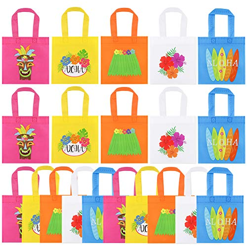 20Pcs Hawaiian Aloha Party Favor Bags, Non-Woven Gift Bags Treat Tote Bags Candy Goodie Bag Aloha Party Decoration with Handle for Kids Birthday, Baby Shower