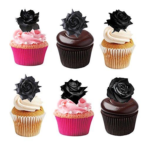 Kuchendekorationen, essbar, schwarze Rosen, 30 Stück