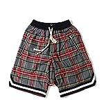 BAAFG Pantalones Cortos de algodón Puro de Verano Hombres Hiphop Shorts Portales de Malla Pantalones Cortos de Playa Transpirables 01-M