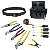 Klein Tools 92003 Electrician Tool Kit with Klein Tools Hand Tools for Wiring and Connecting, Comes in 18-Pocket Nylon Tool Pouch, 12-Piece