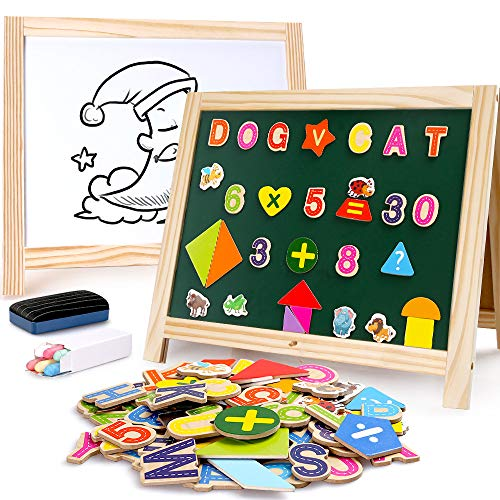 BeebeeRun Wooden Art Easel 2 Sides Tabletop Drawing Board for Kids, Magnetic Whiteboard and Chalkboard with Magnetic Letters, Numbers and Other Accessories, Education Toys for Toddlers Boys and Girls