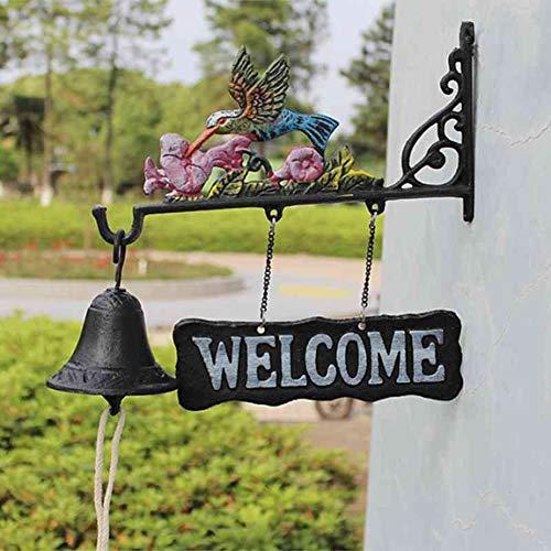 PQB Europäische und amerikanische türklingel pastoralen retro gusseisen türklingel willkommen türklingel glocke handglocke verbreiten flügel vogel
