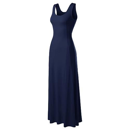 e5dc3bcc23 NEARKIN Beloved Womens Scoop Neck Slim Cut Stretchy Maxi Dress