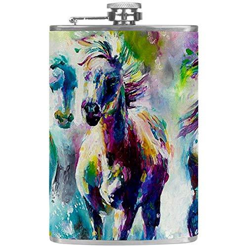 Bennigiry Herren Flachmann, Farbe Pferdegemälde, Edelstahl Weinflasche, Leder-Trinkflasche für die Aufbewahrung von Whisky-Alkohol-Likor (8oz)