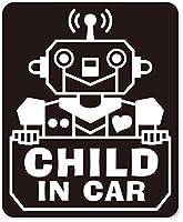 imoninn CHILD in car ステッカー 【マグネットタイプ】 No.50 ロボットさん (黒色)