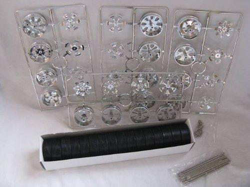 alles-meine.de GmbH felgenset Felgen Set Reifen Spinners 1/18 Chrom 4er Set Schwarz Modellauto Modell Auto