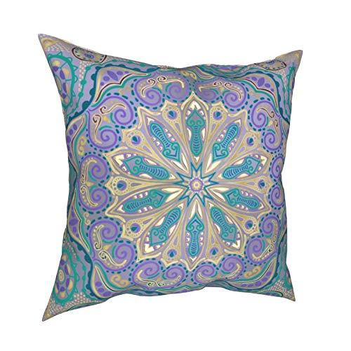 Uliykon Fundas de cojín decorativas con diseño de mandala en color morado, azul y dorado, suaves y cuadradas, fundas de almohada para sofá, dormitorio, coche, con cremallera invisible, 45,7 x 45,7 cm