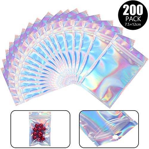 Save %6 Now! 200 Packs Resealable Smell proof Bags Mylar Ziplock Bags Aluminum Foil Pouch Bag Hologr...
