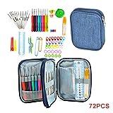 Patpan 72pcs / Set Ganchillo Conjunto Aguja de Tejer Kit de Bricolaje Manual de Punto de Almacenamiento Bolso Que Hace Punto de Punto de la Armadura del Hilado Crafts Herramientas