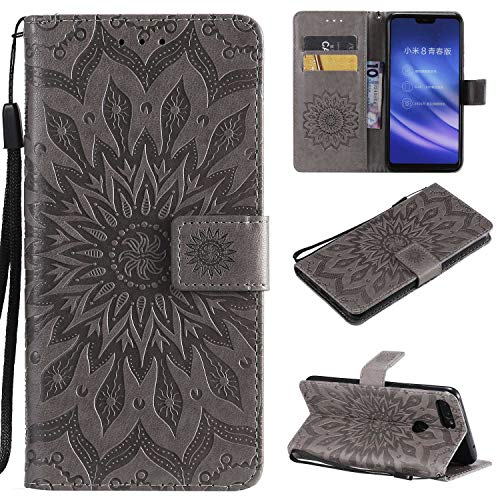 KKEIKO Hülle für Xiaomi MI 8 Lite, PU Leder Brieftasche Schutzhülle Klapphülle, Sun Blumen Design Stoßfest Handyhülle für Xiaomi MI 8 Lite - Grau