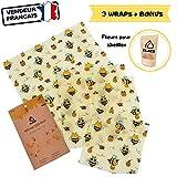 ELACE Bee Wrap Film Alimentaire Lavable réutilisable en Coton Bio et Cire d'Abeille - Lot de 3 (S, M, L) – Couvre Plat Tissu et Emballage Alimentaire Ecologique, Zero déchet