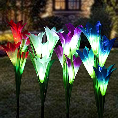 KAQ 4 Pack Outdoor Solar Lights,16 Large Lily Flowers Solar Garden Lights, Waterproof 7 Color Changing, Long Working Time Outdoor Lights for Patio Garden Yard Pathway Decoration